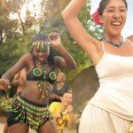 Clients dancing a Lesedi culutral village